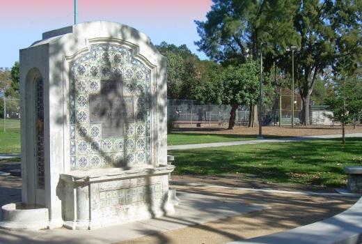 Backesto Park fountain in San Jose, CA