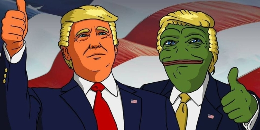 Pepe the Frog runs with Donald Trump's racist supporters